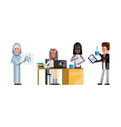 african and arabic business staff working vector image