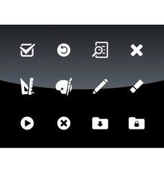 Application interface icons on black background vector image