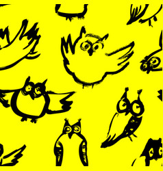 background with sketchy owls seamless pattern vector image