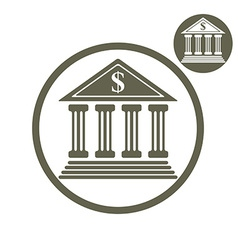 Bank building simple single color icon isolated on vector image