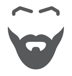 Beard and mustache glyph icon barber and vector