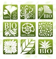 Bio product labels stikers and badges vector