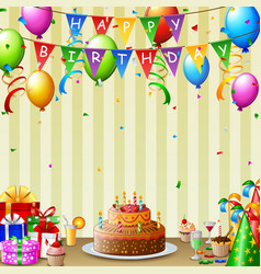birthday background with birthday cake and colorfu vector image