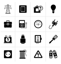 Black power energy and electricity icons vector