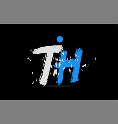Blue white alphabet letter combination th t h vector
