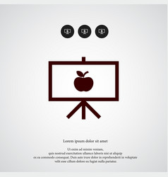 board with apple icon simple school element vector image