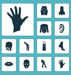 body icons set with foot butt finger and other vector image