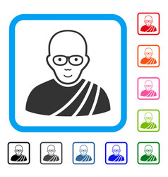 Buddhist monk framed happiness icon vector
