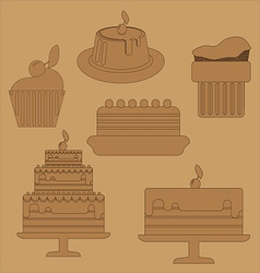 Card with six big cream layered cakes over a brown vector image