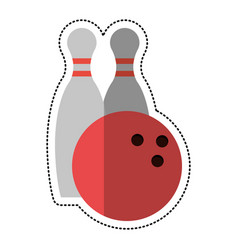 Cartoon bowling ball pin sport vector