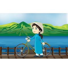 Cartoon Vietnam Girl vector