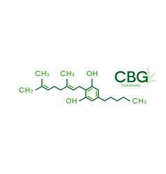 cbg molecular formula cannabigerol molecule vector image