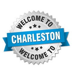 Charleston 3d silver badge with blue ribbon vector