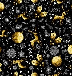 Christmas gold low poly holiday symbols pattern vector image