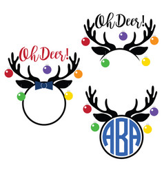 Christmas reindeer antlers vector