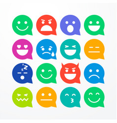 colorful flat style emoji speech bubbles vector image