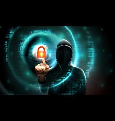 computer hacker hood touches touchscreen vector image