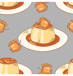 Creme caramel dessert seamless pattern in vector