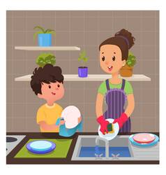Cute boy helps mom to wash dishes vector