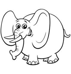 cute elephant cartoon character color book vector image