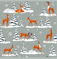 Deer winter pattern vector