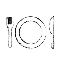 dish with fork and knife isolated icon vector image