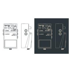 Distortion pedal blueprints vector