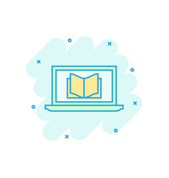 Elearning education icon in comic style study vector