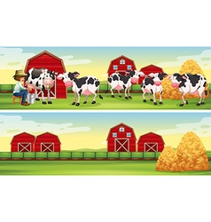 Farmer and cows in the farm vector image