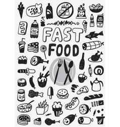Fast food - doodles set vector image
