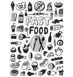 Fast food - doodles set vector