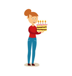 Flat girl holding big birthday cake vector