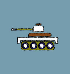 Flat shading style icon army tank vector