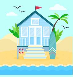 flat tropical beach hut on vector image