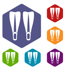Flippers icons set vector