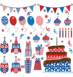 Fourth july patriotic owls party set vector