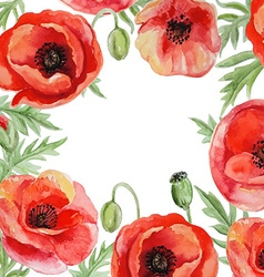 Frame with red watercolor poppy flowers vector