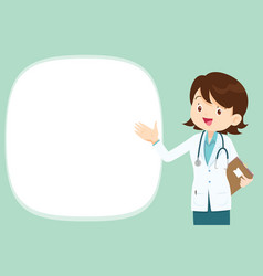 Freemale doctor present with empty space vector