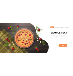 fresh pizza surrounded by vegetables restaurant vector image