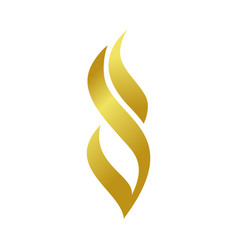 golden abstract fire flame shape symbol design vector image