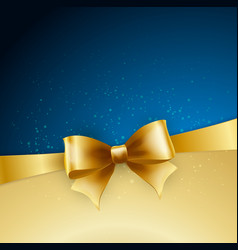golden bow on blue background vector image