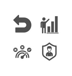 Graph chart undo and correct answer icons vector