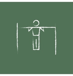 Gymnast on the bar icon drawn in chalk vector