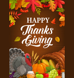 happy thanksgiving poster with turkey crop vector image