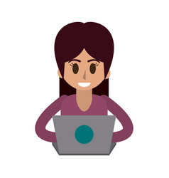Happy woman using laptop icon image vector