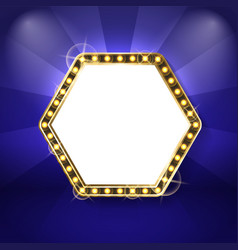 hexagon frame with neon light bulbs isolated blue vector image