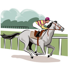 horse and rider during a race vector image