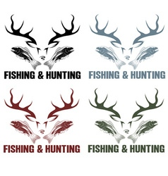 Hunting and fishing vintage emblems set vector