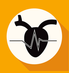 icon human heart on white circle with a long vector image