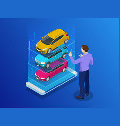 Isometric buy a car or rental a car online design vector